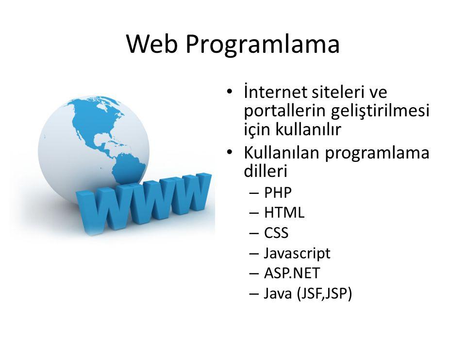 Web Programlama İnternet siteleri ve portallerin geliştirilmesi için kullanılır. Kullanılan programlama dilleri.