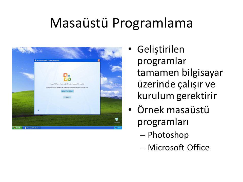 Masaüstü Programlama Geliştirilen programlar tamamen bilgisayar üzerinde çalışır ve kurulum gerektirir.
