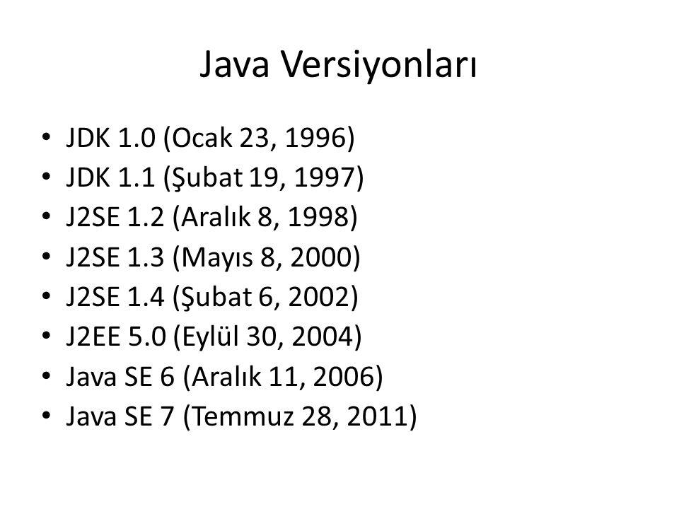 Java Versiyonları JDK 1.0 (Ocak 23, 1996) JDK 1.1 (Şubat 19, 1997)