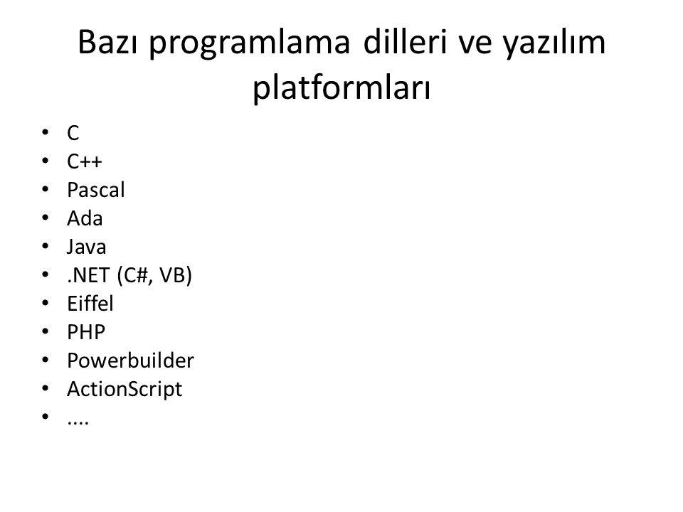 Bazı programlama dilleri ve yazılım platformları
