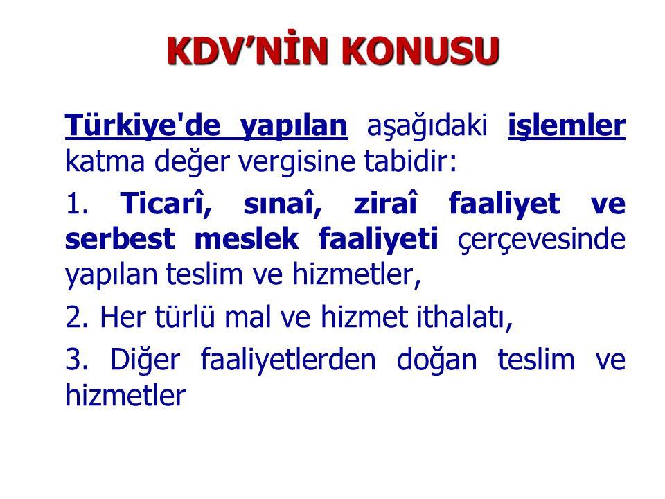 KDV'NİN KONUSU Türkiye de yapılan aşağıdaki işlemler katma değer vergisine tabidir: