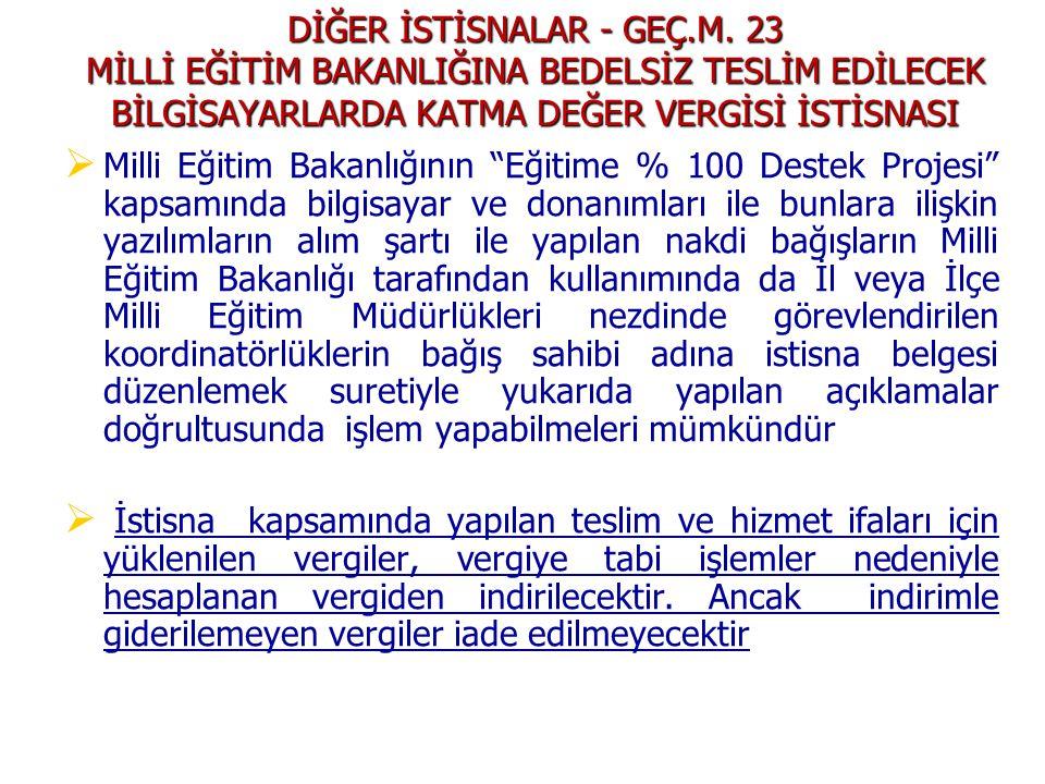 DİĞER İSTİSNALAR - GEÇ. M