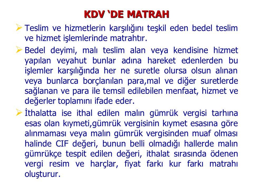 KDV 'DE MATRAH Teslim ve hizmetlerin karşılığını teşkil eden bedel teslim ve hizmet işlemlerinde matrahtır.