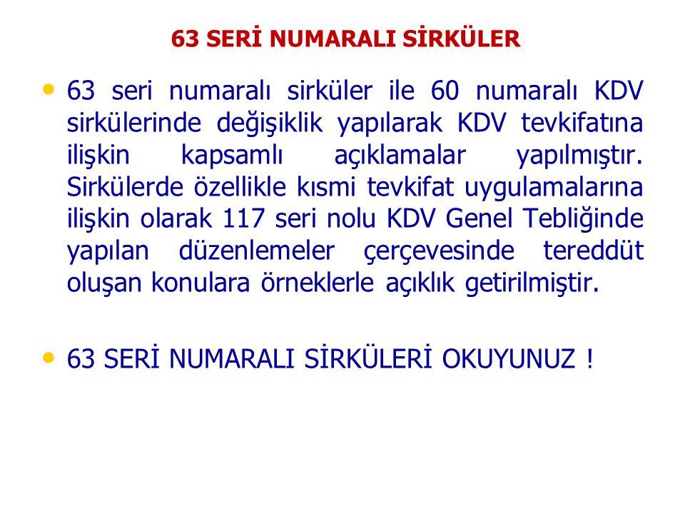 63 SERİ NUMARALI SİRKÜLER