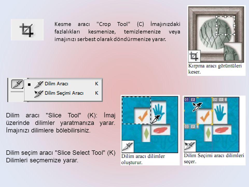Kesme aracı Crop Tool (C) İmajınızdaki fazlalıkları kesmenize, temizlemenize veya imajınızı serbest olarak döndürmenize yarar.