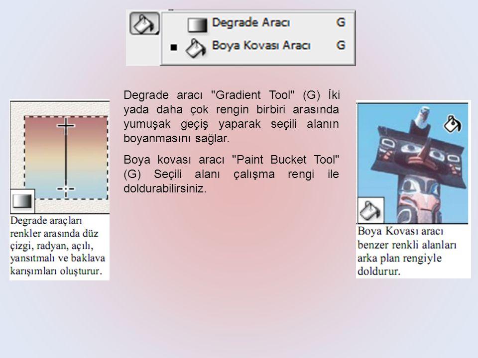 Degrade aracı Gradient Tool (G) İki yada daha çok rengin birbiri arasında yumuşak geçiş yaparak seçili alanın boyanmasını sağlar.