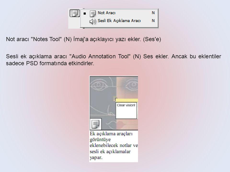 Not aracı Notes Tool (N) İmaj a açıklayıcı yazı ekler. (Ses e)