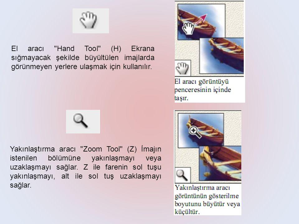 El aracı Hand Tool (H) Ekrana sığmayacak şekilde büyültülen imajlarda görünmeyen yerlere ulaşmak için kullanılır.