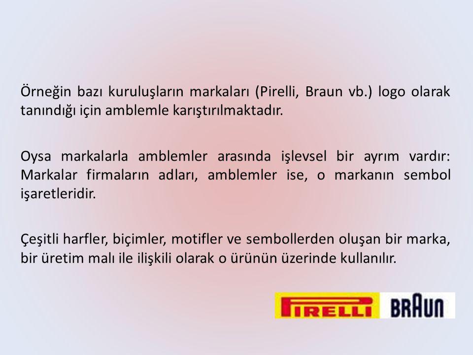Örneğin bazı kuruluşların markaları (Pirelli, Braun vb