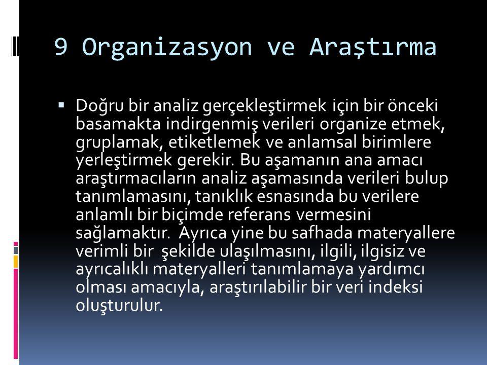 9 Organizasyon ve Araştırma