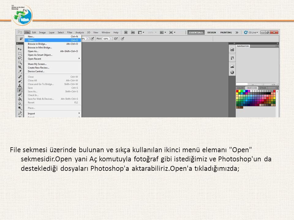 File sekmesi üzerinde bulunan ve sıkça kullanılan ikinci menü elemanı Open sekmesidir.Open yani Aç komutuyla fotoğraf gibi istediğimiz ve Photoshop un da desteklediği dosyaları Photoshop a aktarabiliriz.Open a tıkladığımızda;