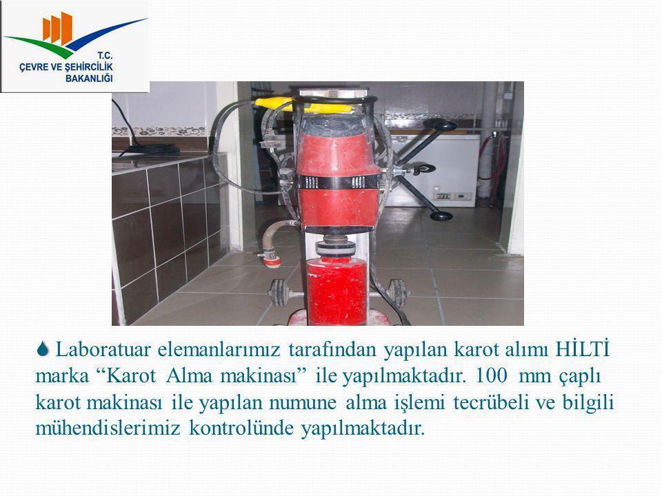  Laboratuar elemanlarımız tarafından yapılan karot alımı HİLTİ marka Karot Alma makinası ile yapılmaktadır.