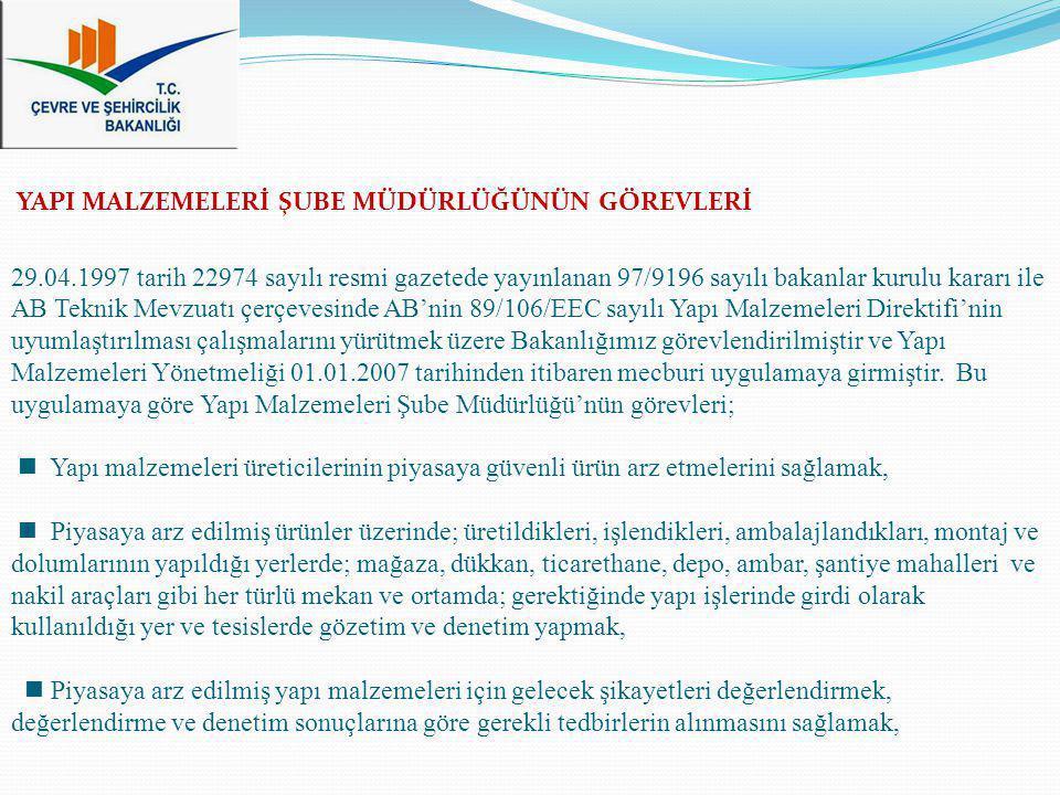 29.04.1997 tarih 22974 sayılı resmi gazetede yayınlanan 97/9196 sayılı bakanlar kurulu kararı ile AB Teknik Mevzuatı çerçevesinde AB'nin 89/106/EEC sayılı Yapı Malzemeleri Direktifi'nin uyumlaştırılması çalışmalarını yürütmek üzere Bakanlığımız görevlendirilmiştir ve Yapı Malzemeleri Yönetmeliği 01.01.2007 tarihinden itibaren mecburi uygulamaya girmiştir. Bu uygulamaya göre Yapı Malzemeleri Şube Müdürlüğü'nün görevleri;