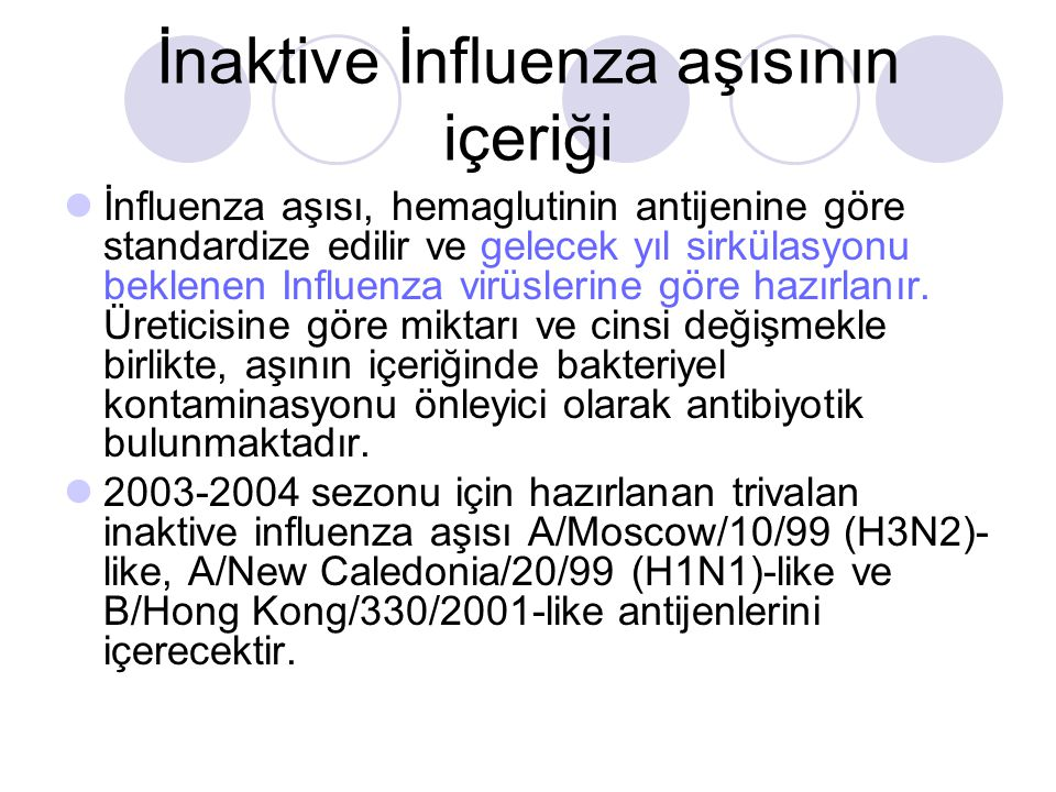 İnaktive İnfluenza aşısının içeriği