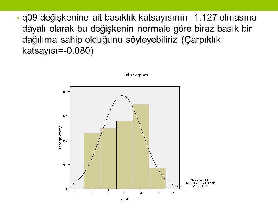 q09 değişkenine ait basıklık katsayısının -1