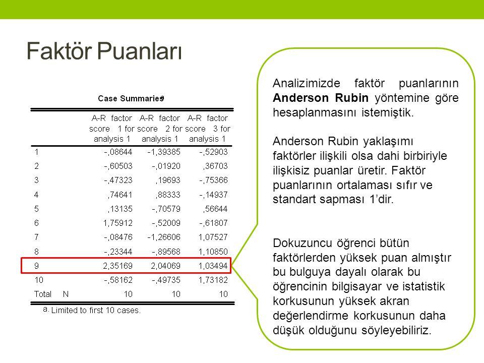 Faktör Puanları Analizimizde faktör puanlarının Anderson Rubin yöntemine göre hesaplanmasını istemiştik.