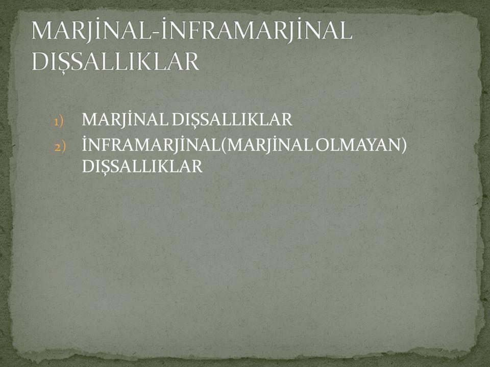 MARJİNAL-İNFRAMARJİNAL DIŞSALLIKLAR