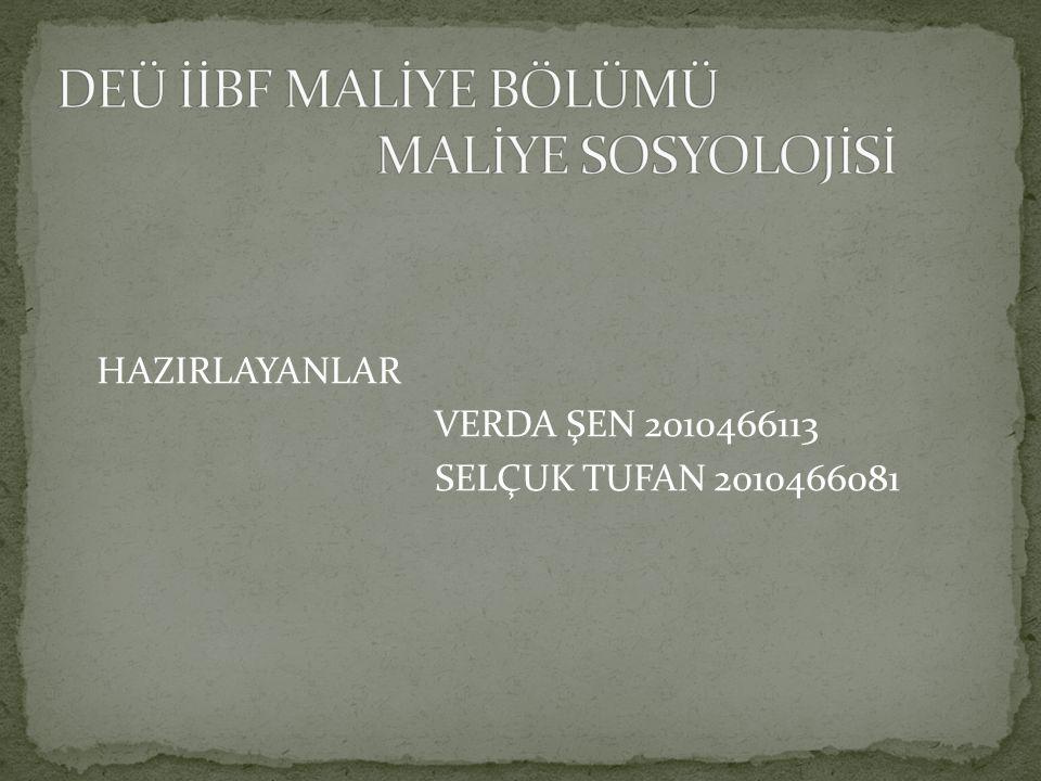 DEÜ İİBF MALİYE BÖLÜMÜ MALİYE SOSYOLOJİSİ