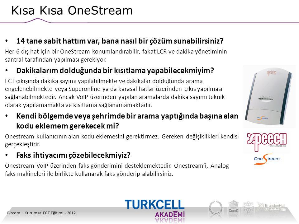 Kısa Kısa OneStream 14 tane sabit hattım var, bana nasıl bir çözüm sunabilirsiniz