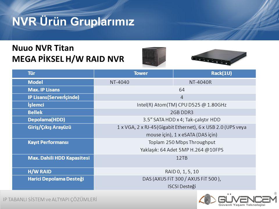 NVR Ürün Gruplarımız Nuuo NVR Titan MEGA PİKSEL H/W RAID NVR Tür Tower