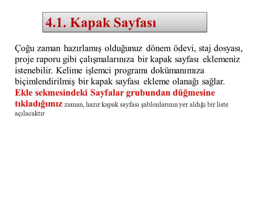 4.1. Kapak Sayfası