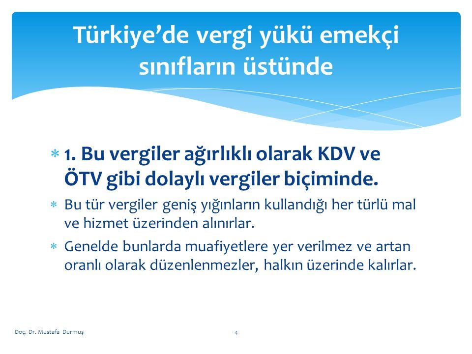 Türkiye'de vergi yükü emekçi sınıfların üstünde