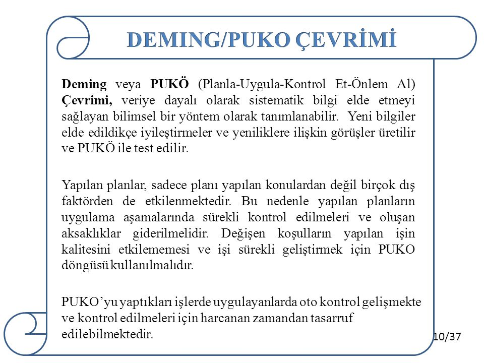 DEMING/PUKO ÇEVRİMİ