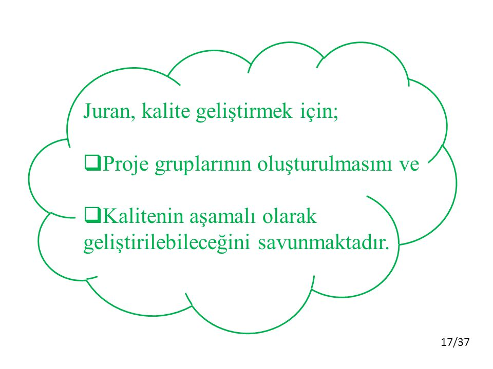 Juran, kalite geliştirmek için;