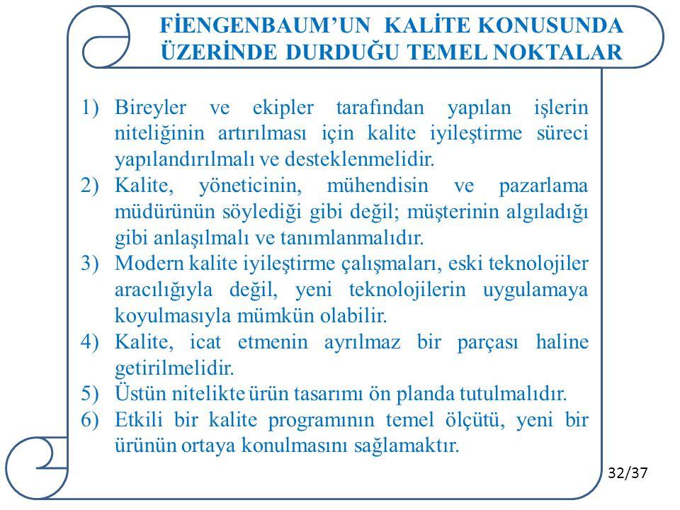FİENGENBAUM'UN KALİTE KONUSUNDA ÜZERİNDE DURDUĞU TEMEL NOKTALAR
