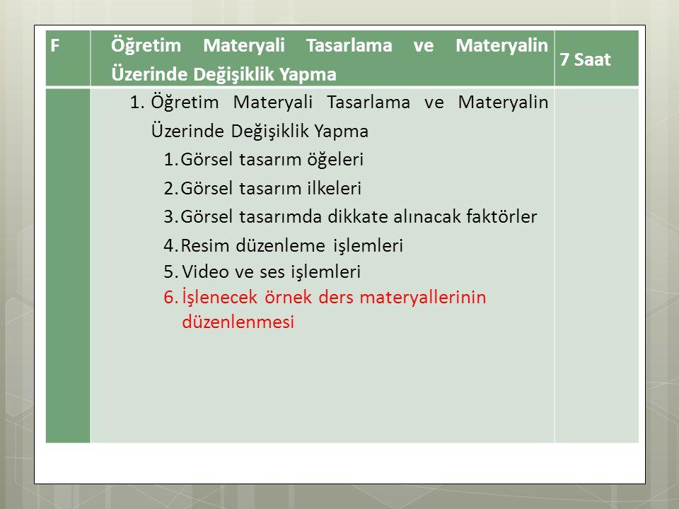 F Öğretim Materyali Tasarlama ve Materyalin Üzerinde Değişiklik Yapma. 7 Saat. Görsel tasarım öğeleri.