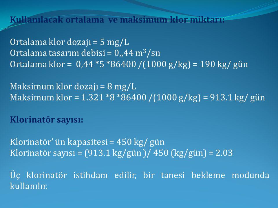 Kullanılacak ortalama ve maksimum klor miktarı: