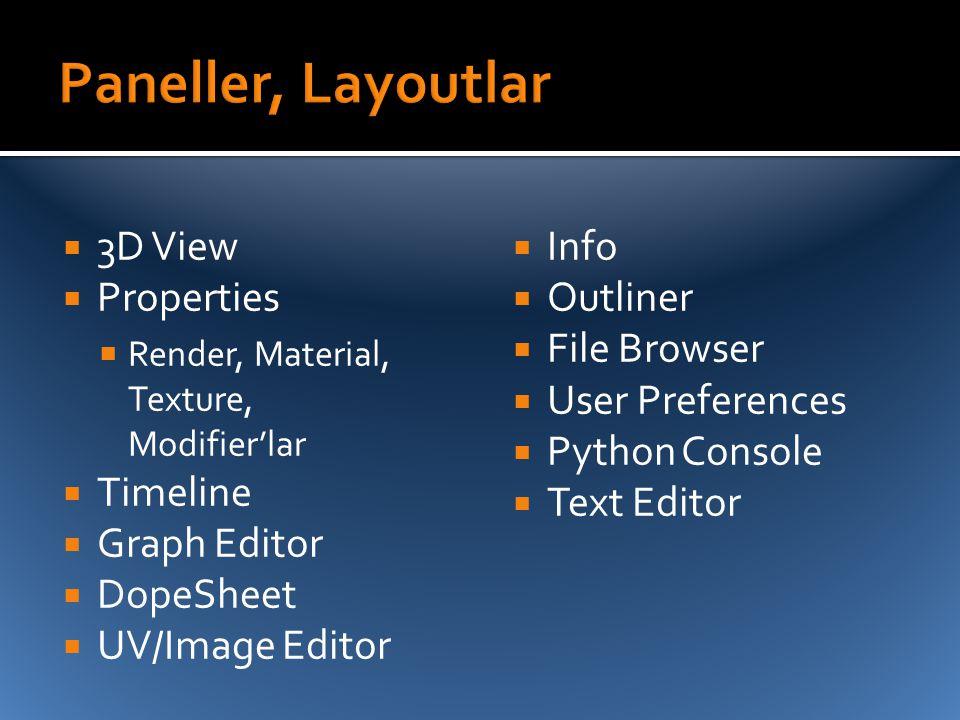 Paneller, Layoutlar 3D View Properties Timeline Graph Editor DopeSheet