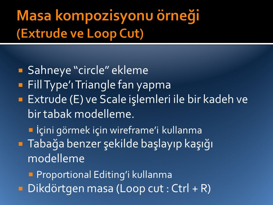 Masa kompozisyonu örneği (Extrude ve Loop Cut)