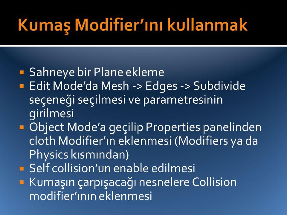 Kumaş Modifier'ını kullanmak