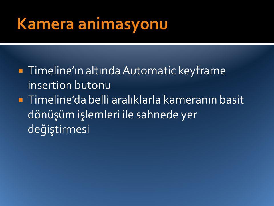 Kamera animasyonu Timeline'ın altında Automatic keyframe insertion butonu.