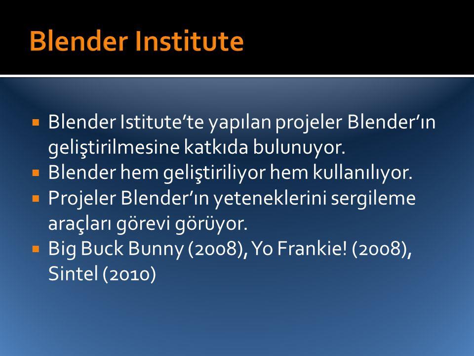Blender Institute Blender Istitute'te yapılan projeler Blender'ın geliştirilmesine katkıda bulunuyor.