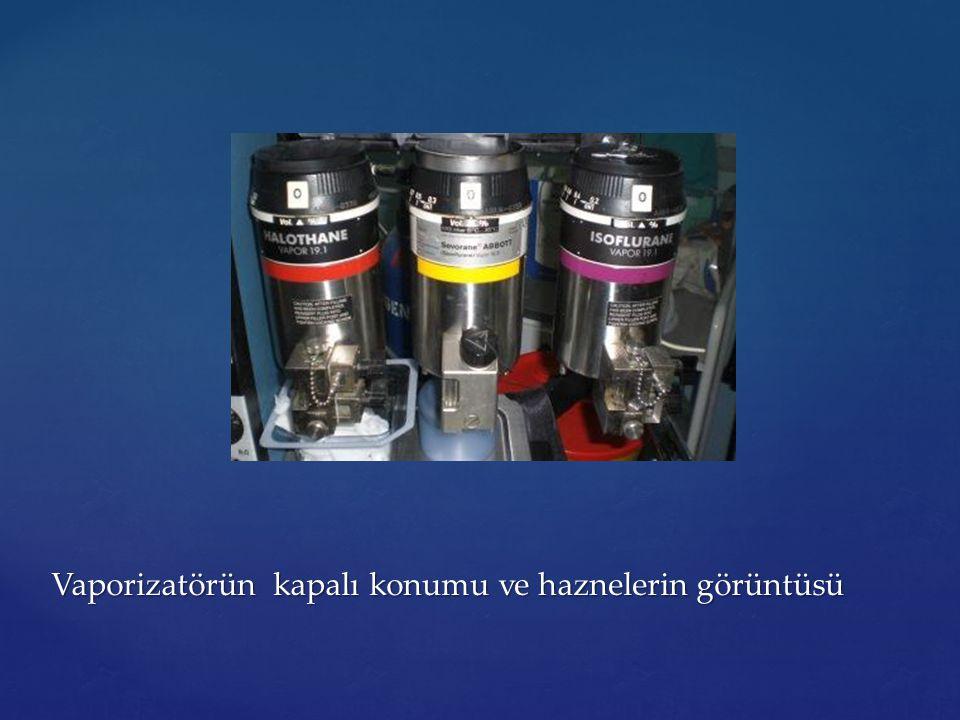 Vaporizatörün kapalı konumu ve haznelerin görüntüsü