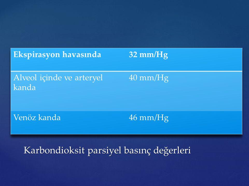 Karbondioksit parsiyel basınç değerleri