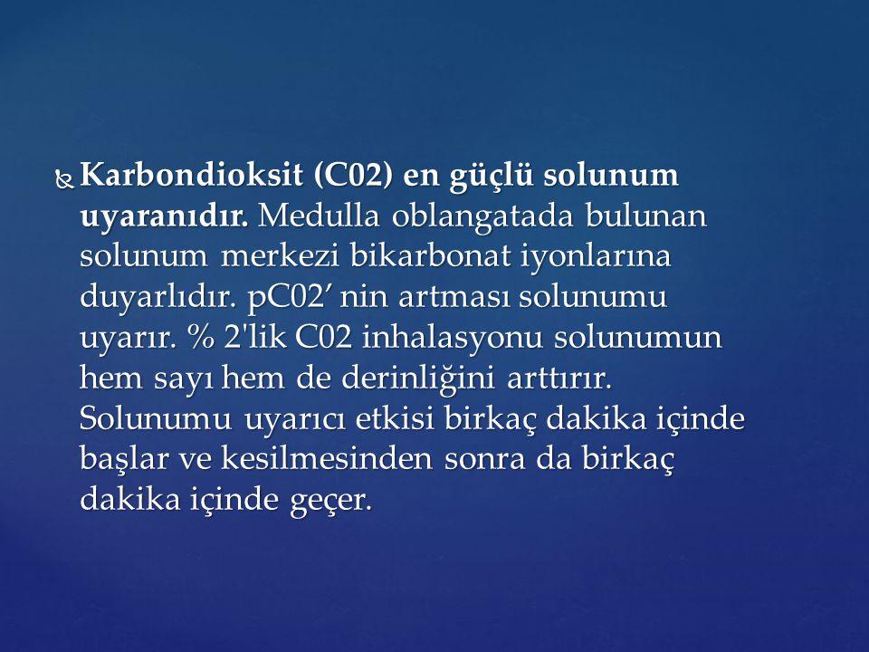 Karbondioksit (C02) en güçlü solunum uyaranıdır