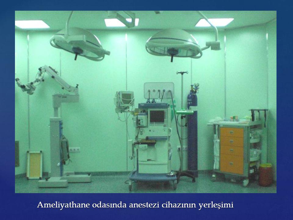 Ameliyathane odasında anestezi cihazının yerleşimi