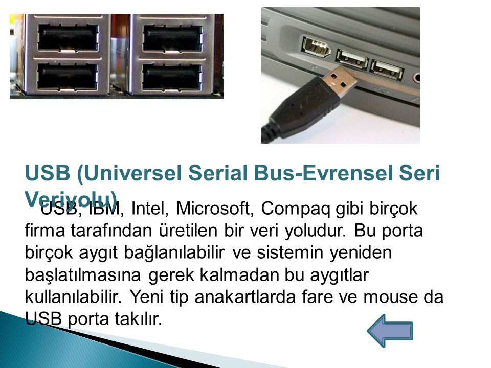 USB (Universel Serial Bus-Evrensel Seri Veriyolu)