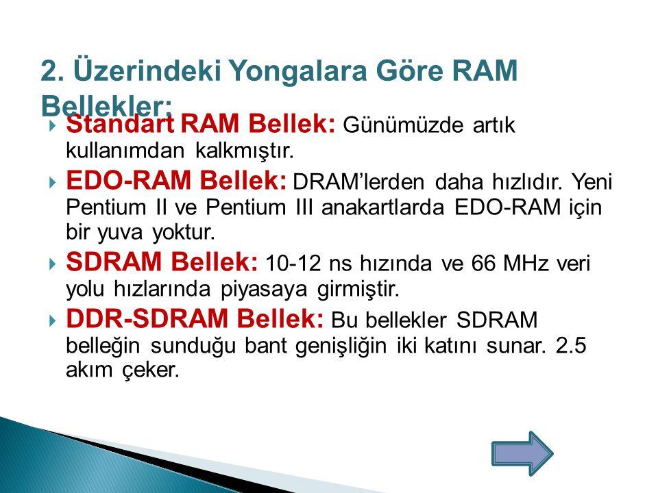2. Üzerindeki Yongalara Göre RAM Bellekler: