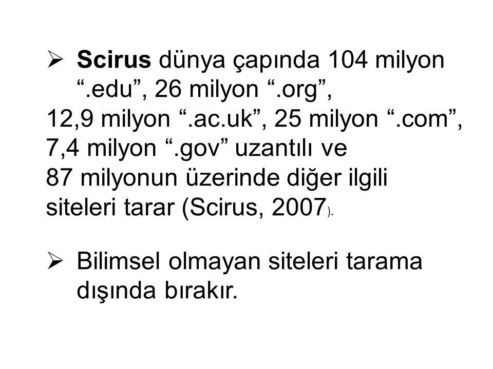 Scirus dünya çapında 104 milyon .edu , 26 milyon .org ,