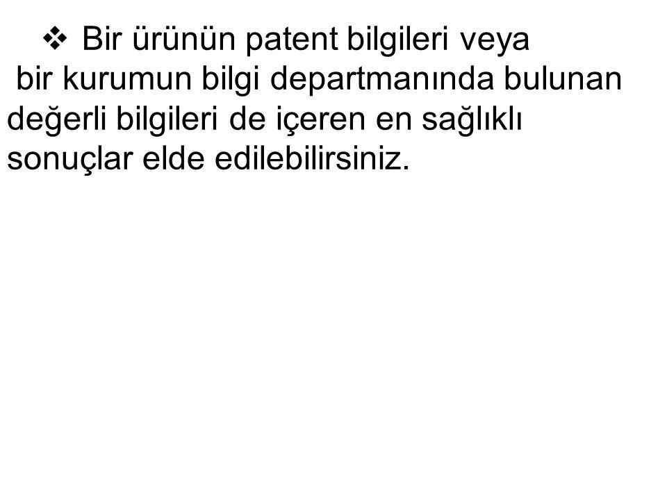 Bir ürünün patent bilgileri veya