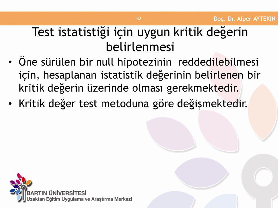 Test istatistiği için uygun kritik değerin belirlenmesi
