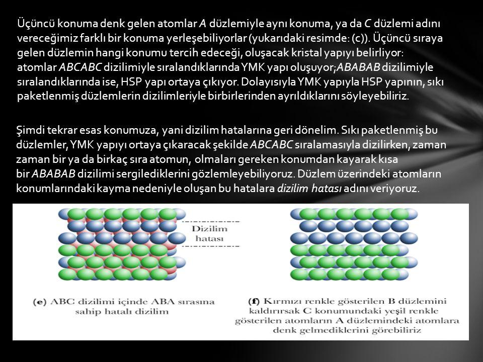 Üçüncü konuma denk gelen atomlar A düzlemiyle aynı konuma, ya da C düzlemi adını vereceğimiz farklı bir konuma yerleşebiliyorlar (yukarıdaki resimde: (c)). Üçüncü sıraya gelen düzlemin hangi konumu tercih edeceği, oluşacak kristal yapıyı belirliyor: atomlar ABCABC dizilimiyle sıralandıklarında YMK yapı oluşuyor;ABABAB dizilimiyle sıralandıklarında ise, HSP yapı ortaya çıkıyor. Dolayısıyla YMK yapıyla HSP yapının, sıkı paketlenmiş düzlemlerin dizilimleriyle birbirlerinden ayrıldıklarını söyleyebiliriz.