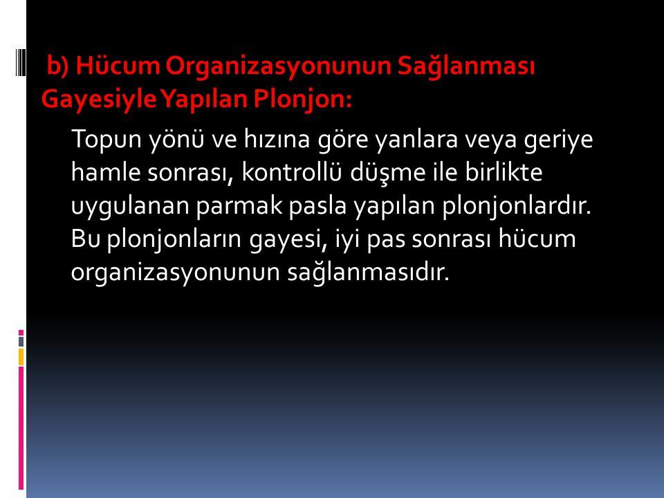 b) Hücum Organizasyonunun Sağlanması Gayesiyle Yapılan Plonjon: