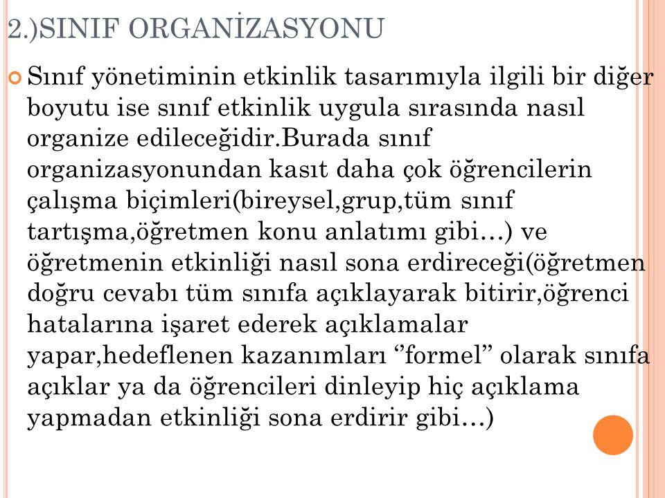 2.)SINIF ORGANİZASYONU