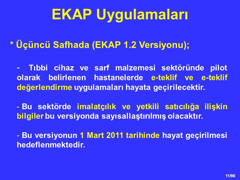 EKAP Uygulamaları * Üçüncü Safhada (EKAP 1.2 Versiyonu);