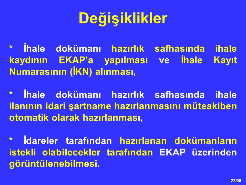 Değişiklikler * İhale dokümanı hazırlık safhasında ihale kaydının EKAP'a yapılması ve İhale Kayıt Numarasının (İKN) alınması,